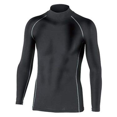 秘密のおたふく手袋 ボディータフネス 保温 コンプレッション パワーストレッチ 長袖 ハイネックシャツ JW-170 ブラック M